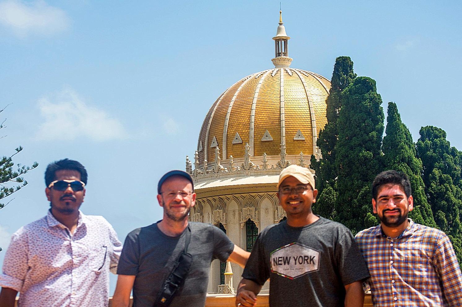 Partha, Joy , Vijay and Flavio at the Bahai Temple, Haifa.