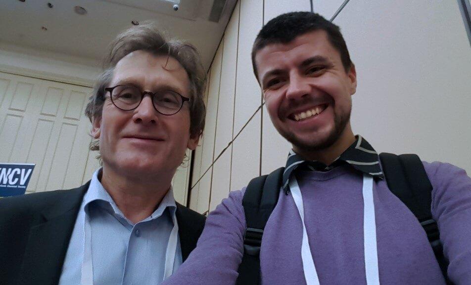"Yuri with Professor Bernard Lucas ""Ben"" Feringa, 2016 Nobel Prize Laureate"