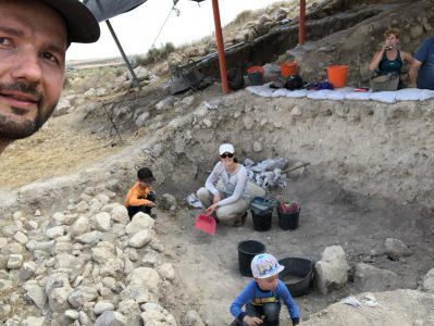 Christian and family digging at Tel Burna