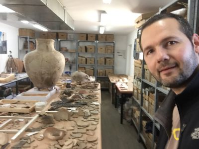 Christian in the Archaeology lab at Ariel