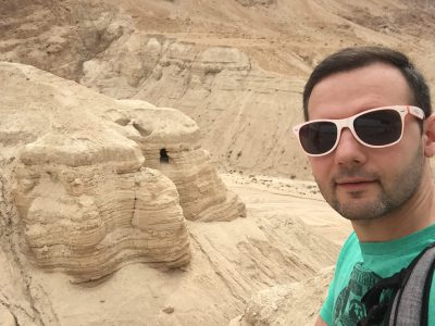 Christian with Ariel group at Qumran