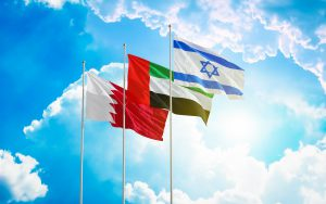 United Arab Emirates Bahrain Israel flags waving against blue sky. Diplomatic deal Manama Abu Dhabi Jerusalem