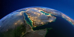 Detailed Earth at night. Saudi Arabia