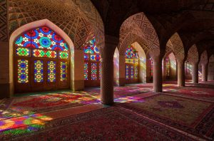 Nasirolmolk Mosque with Colorful Stained Glass Windows in Shiraz