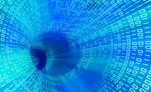 3d technology blue tunnel with  binary code