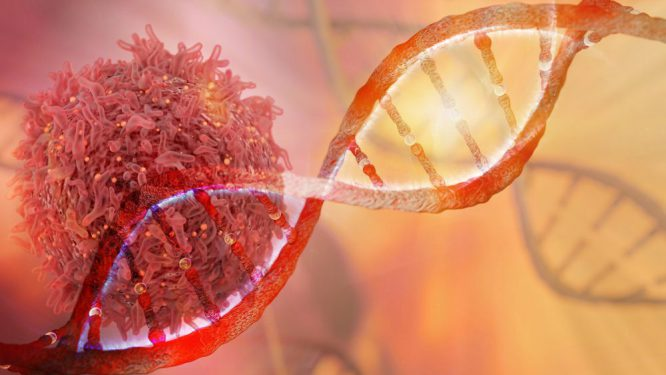 DNA strand and Cancer Cell Oncology Research Concept 3D rendering